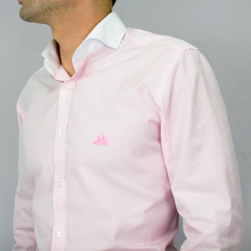 Camisa cuadros vichy rosa y blanco con cuello italiano muy - Cuadros con botones ...