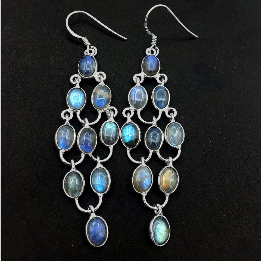 Natural Blue Chalcedony Oval Gemstone 925 Silver Hook Dangle Earrings