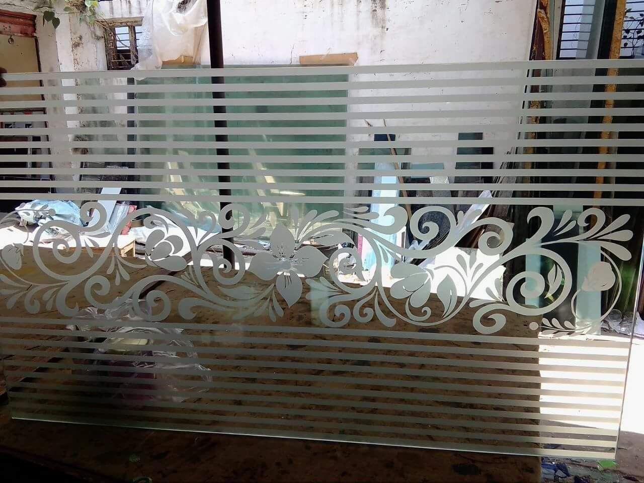 Railing glass etching designs