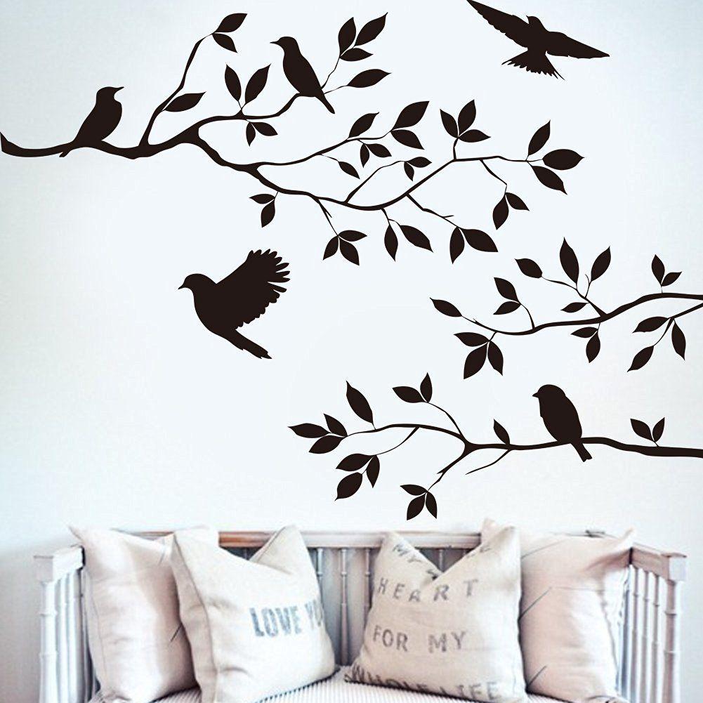 3d butterfly mural wall sticker decor decal pop up stickers art - Bibitime Black Tree Branch Decal 5 Birds Wall Art Sticker Vinyl Quotes Crow Wall Decals Mural