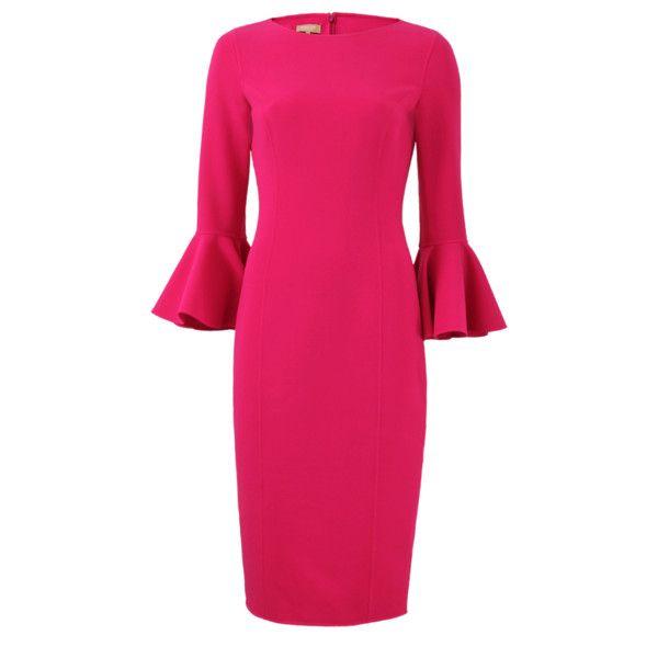 Michael Kors Bell Cuff Sheath Dress 1 296 690 Clp Liked On Polyvore Featuring Dresses N Nƒdºd N Wool Pink Sheath Dress Pink Long Dress Business Dresses