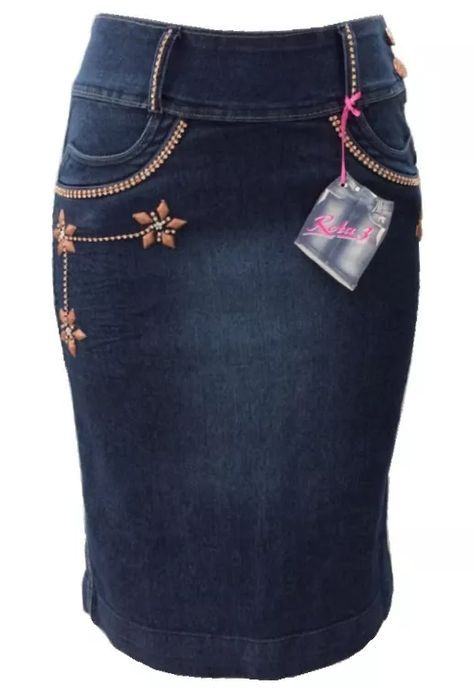 02dcc08c0 Saia Jeans Evangélica Com Bordados E Strass - Pura Flor - R$ 89,90 ...