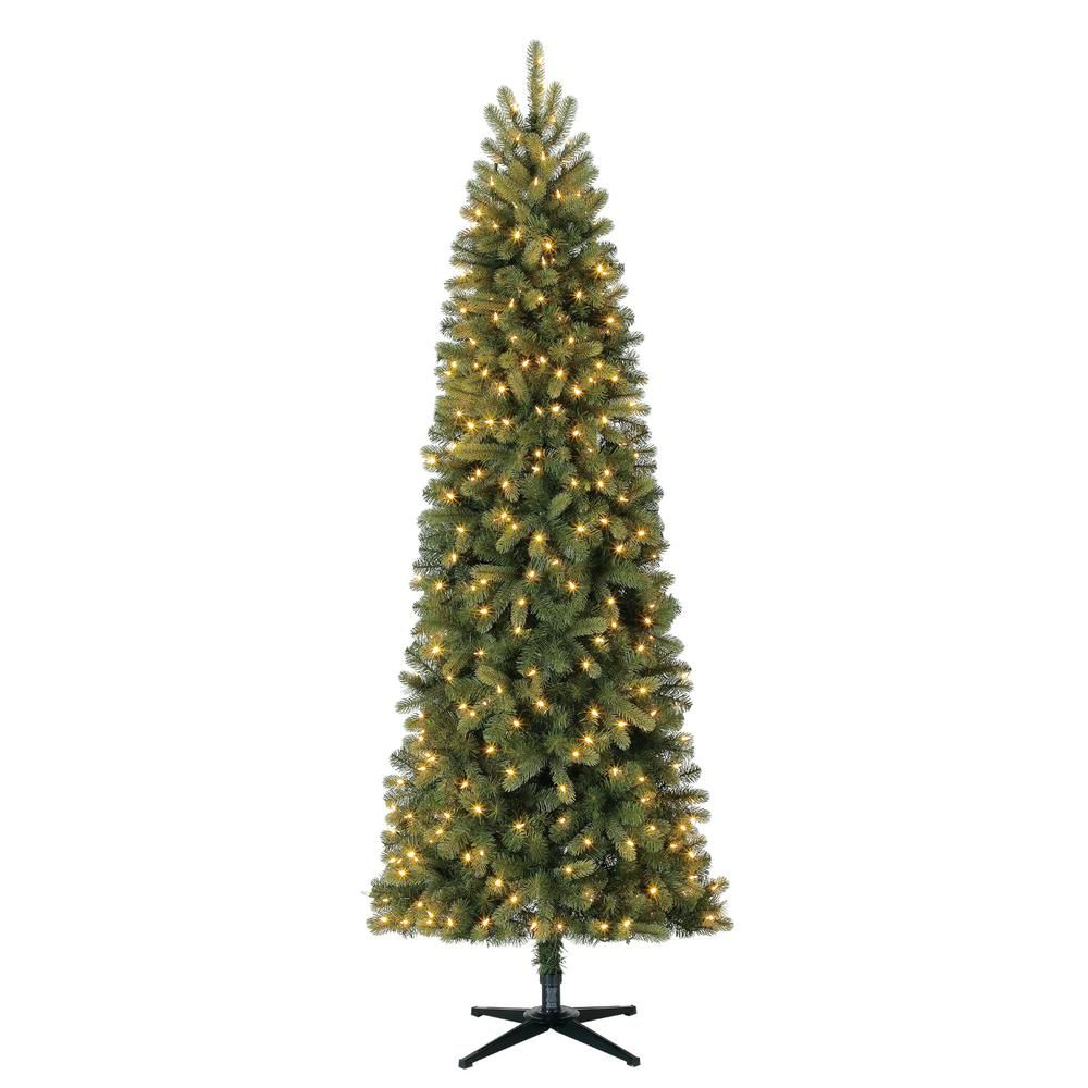 Home Accents Holiday 7 5 Ft Pre Lit Led Manchester Fir Slim Artificial Christmas Tree Wit Slim Artificial Christmas Trees Artificial Christmas Tree Led Lights