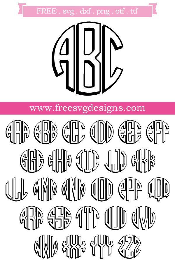 Download 3D Round Monogram 516 | Free monogram fonts, Cricut ...
