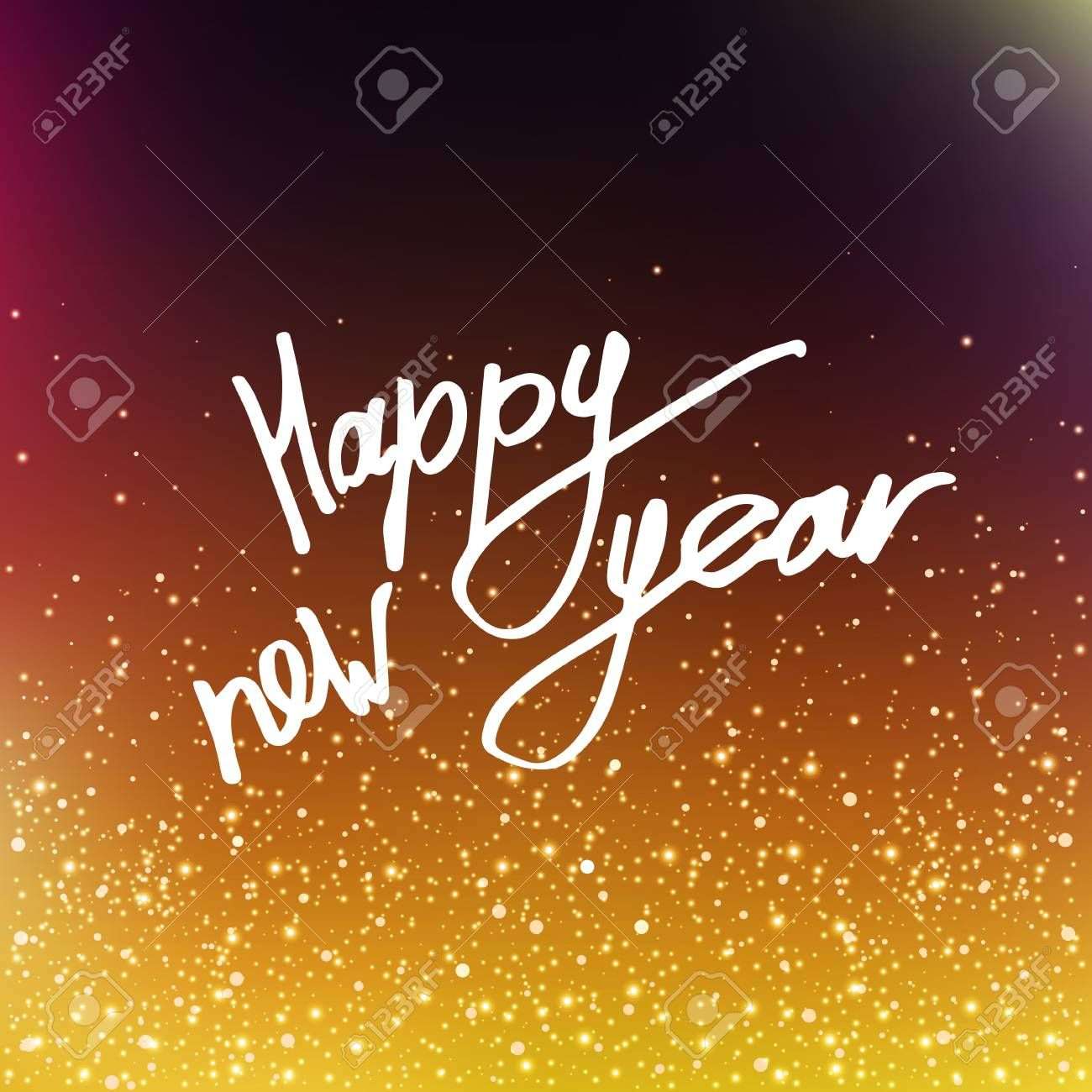 Vector illustration Calligraphy Happy New Year. Blurred background. The inscription on the greeting card. Golden sequins, confetti. EPS10. Illustration , #Sponsored, #Year, #Blurred, #background, #Happy, #Vector