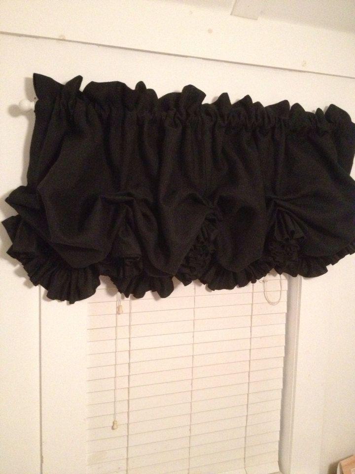Black Burlap Balloon Curtain With Ruffle By MimiAndMe2 9900