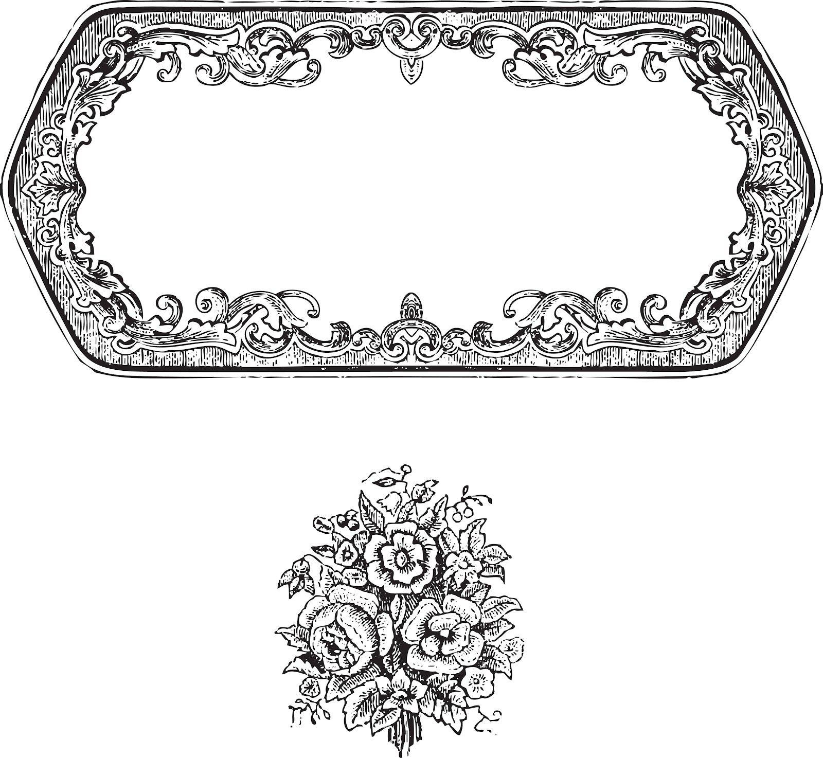vintage border frame & rose ornament