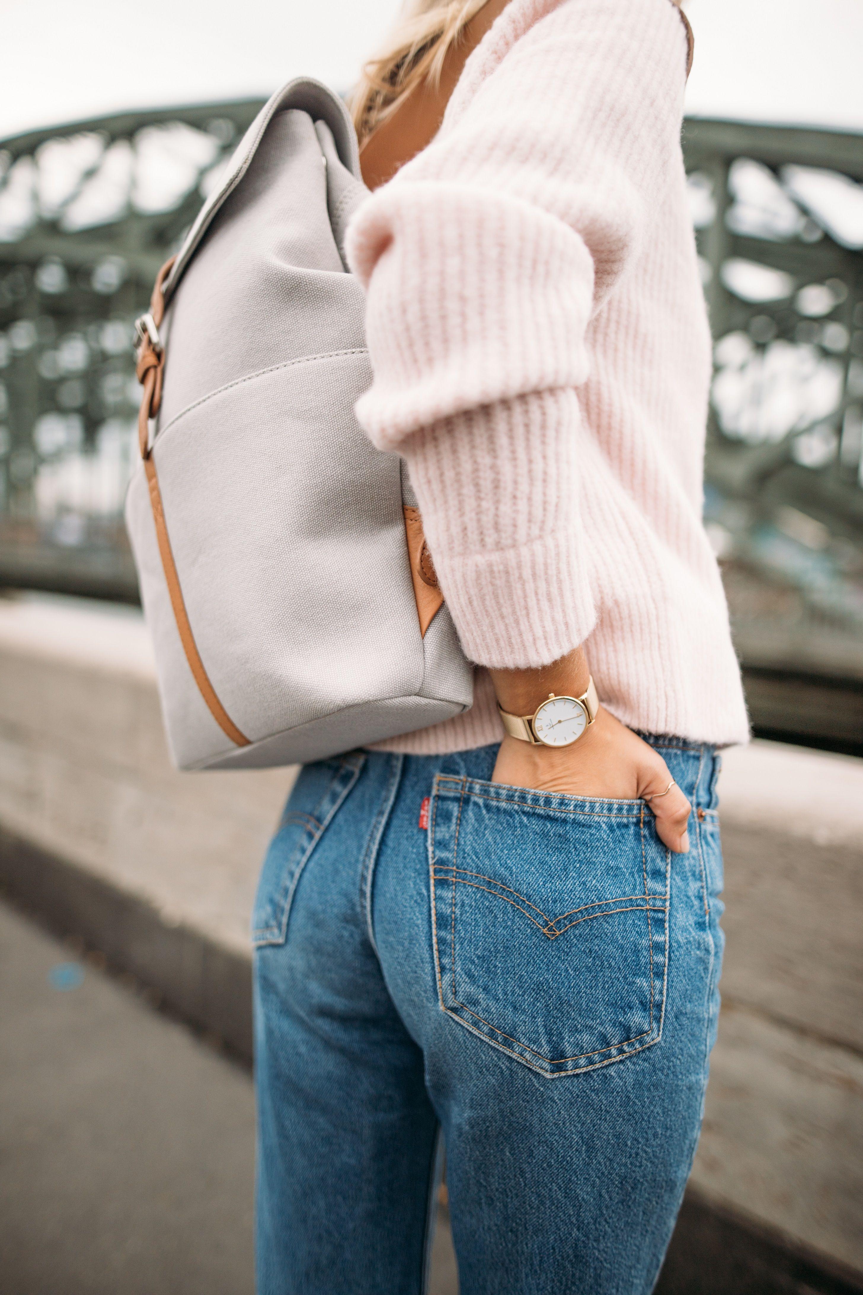Scandinavian Backpack Minimalist School College University Travel Backpack Vegan Backpack Rucksack Feminin Backpack Copenhagen Grey Brown By K