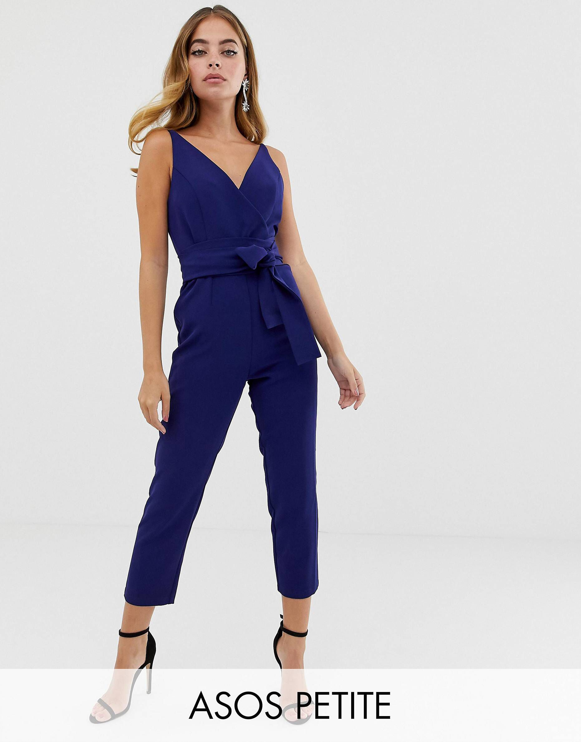 8965b897aa8 DESIGN Petite wrap front jumpsuit with peg leg and self belt in 2019 ...