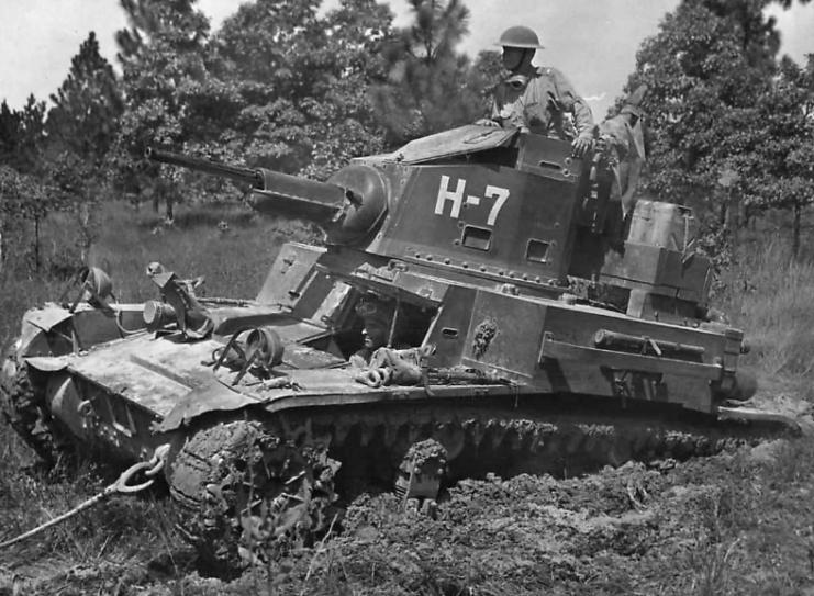 3085 WWII Photo US Army M5 Stuart Light Tank France 1944 World War Two WW2 B/&W