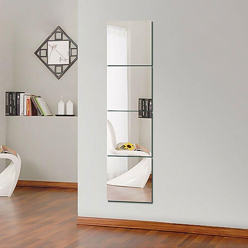 16x Art Room Decor Glass Mirror Tile Wall-Sticker Square Self Adhesive Stick-On