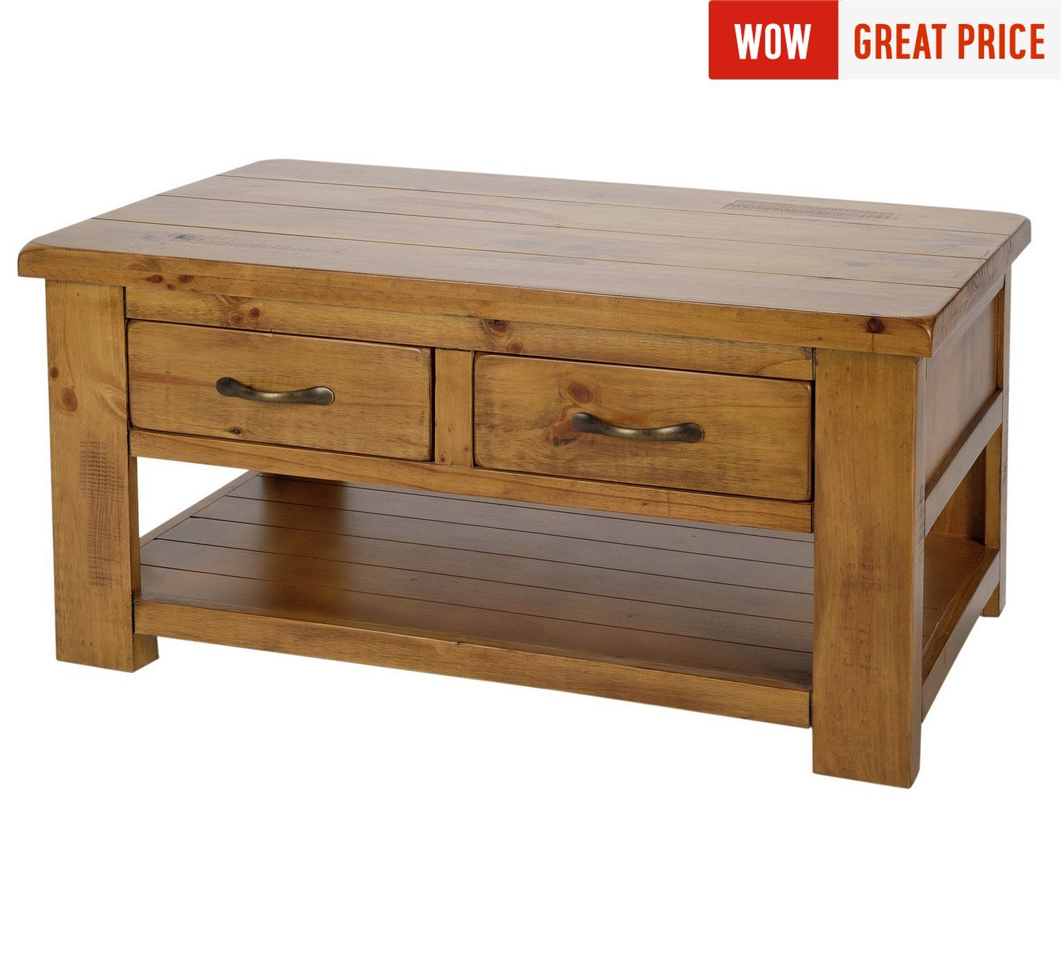 Collection Arizona 2 Drawer 1 Shelf Solid Pine Coffee Table At Argos Co