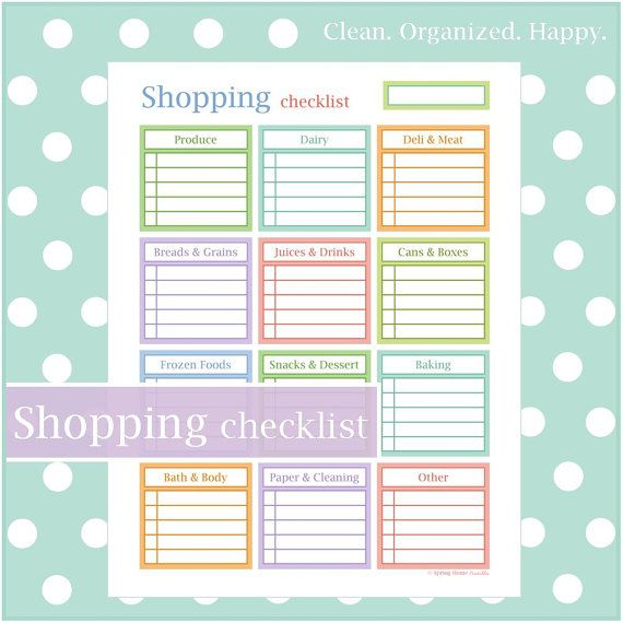 Shopping Checklist Sweet \ Colorful! Pre-filled categories with - blank lined page