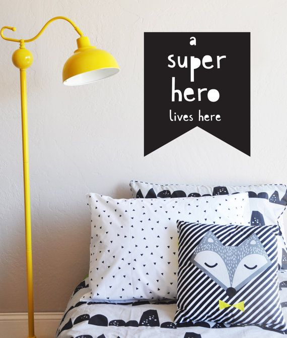 Wall Decal A Super Hero Lives Here Flag Decal Wall Sticker - Superhero wall decals for kids roomssuperhero wall decal etsy