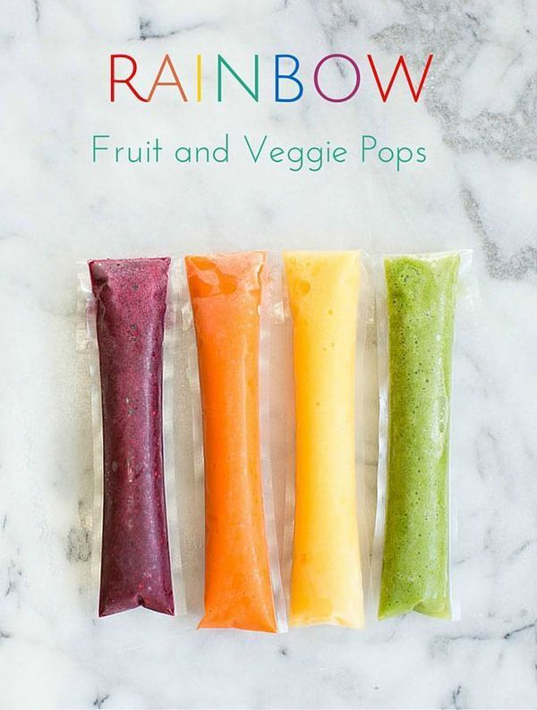 Rainbow Fruit and Veggie Ice Pops. A refreshing and easy way to get kids to eat their veggies. Fun to pack for back to school lunch or snack.