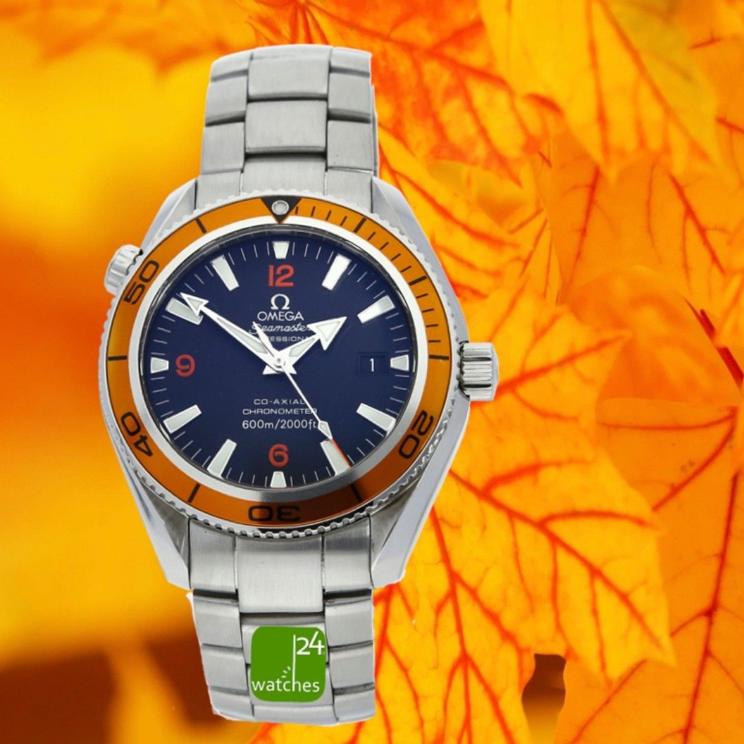 They Are The Colors Of Autumn The Omega Seamaster Axial Planet Ocean This Is Due To The Orange Unidirec In 2020 Omega Planet Ocean Dive Watches Omega Seamaster
