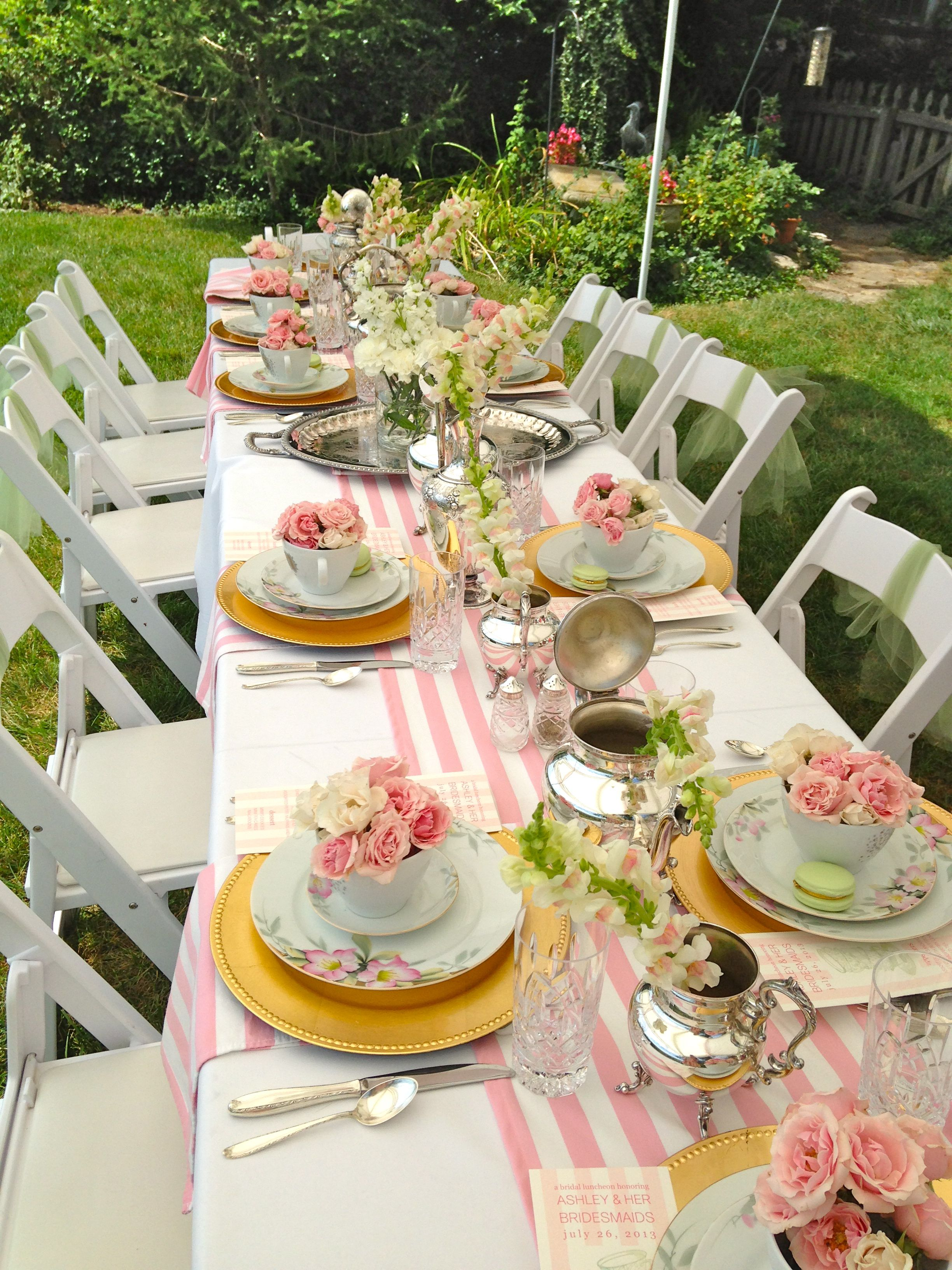 ladies luncheon pink stripe runner table top