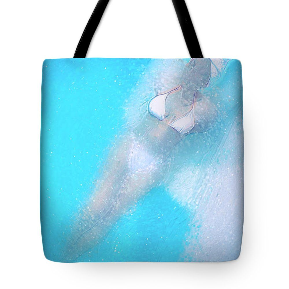 "Floating Tote Bag 18"" x 18"" by #Ezeepics #floating #fineart #digitalart #woman #paintings #blue #dream #FAA"