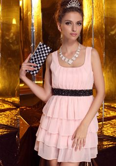 A line Square Above Knee Chiffon Natural Waist Evening Cocktail Dress With Sash/ Ribbon - 1300306065B - US$109.99 - BellasDress
