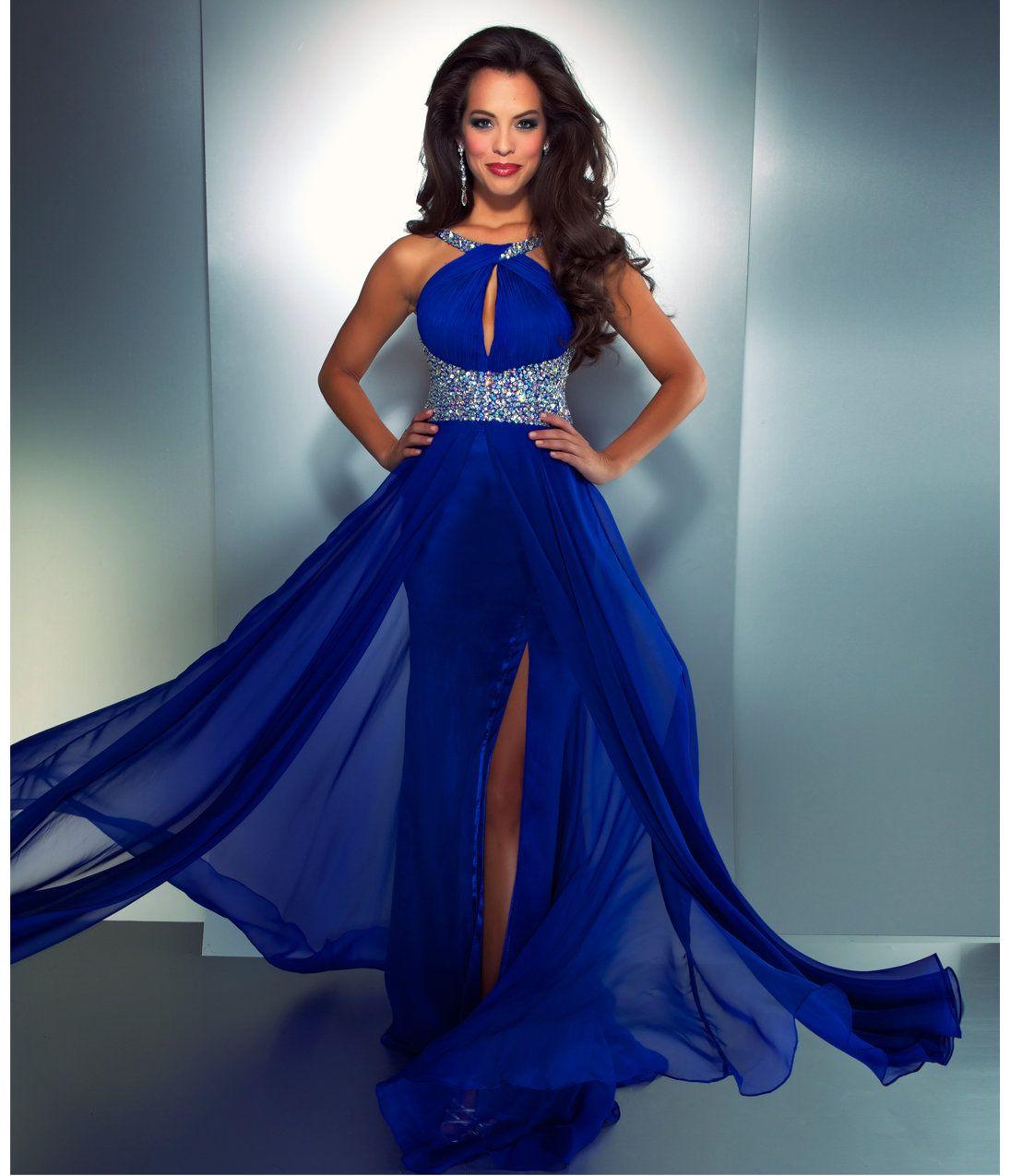 Mac duggal prom electric blue high neck chiffon dress