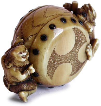 19th Century Japanese Drumming Oni Netsuke Signed Naokazu