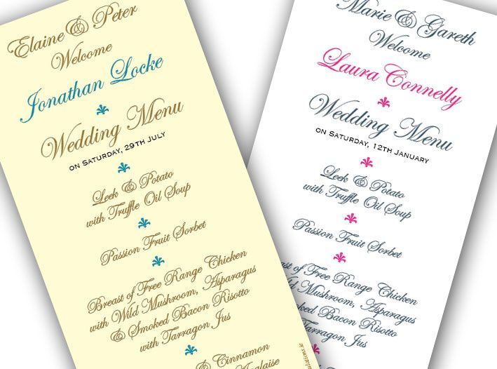 Wedding Menu Cards With Name Menus In The Special Requiremen Menu With Guest Name Printed Wedding Menu Cards Wedding Menu Wedding Stationery