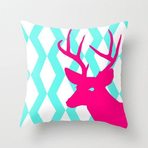 Deer Throw Pillow Cover Hot Pink Aqua Decor Deer Decor Deer Pillow ...