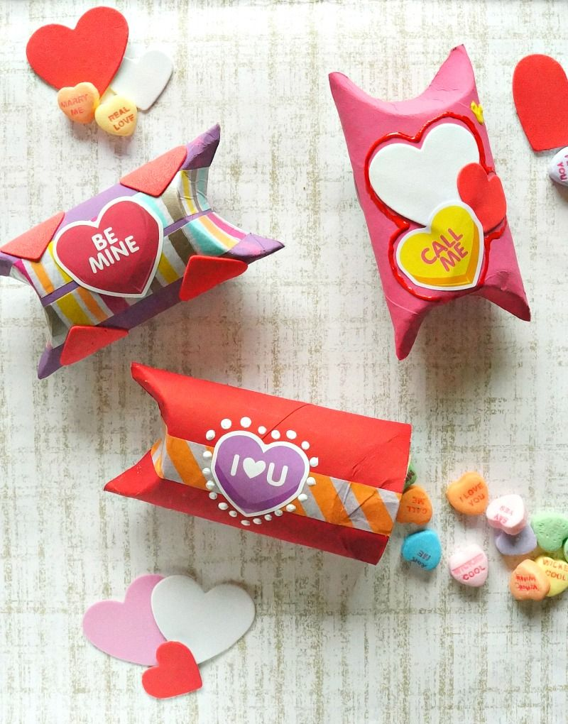 Diy valentines day toilet paper roll gift box craft