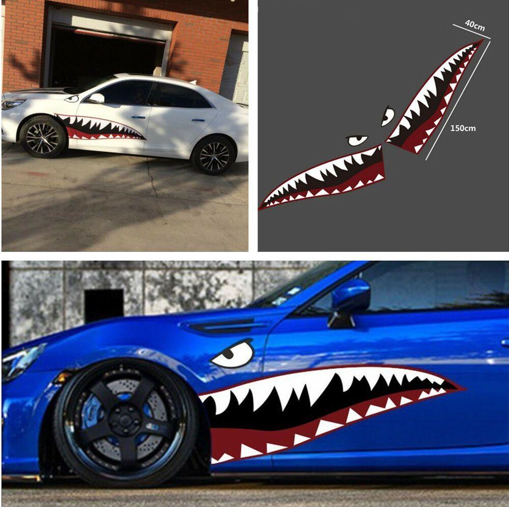 Sponsored Ebay Shark Mouth Tooth Teeth Reflective Sticker Vinyl Vehicle Car Door Exterior Decal Datsun Car Shark Car [ 995 x 1000 Pixel ]