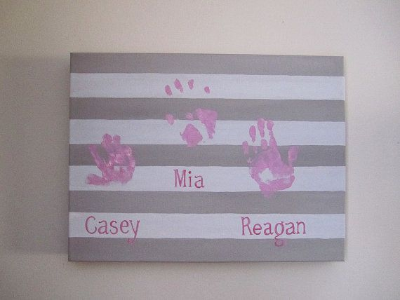 """Any Color, Stripe Family Handprint or Footprint Canvas Art, Personalized, Stripes, Handpainted Keepsake with Print Kit, 12""""x16"""""""