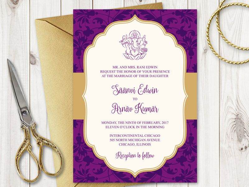 "Purple Indian Wedding Invitations: Traditional Indian Wedding Invitation Template ""Vibrant"
