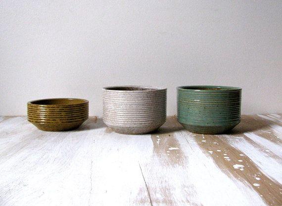 Zanesville Stoneware STONEAGE Mid-Century Mod Pots Gray Green Brown Jardiniere & Zanesville Stoneware STONEAGE Mid-Century Mod Pots Gray Green Brown ...