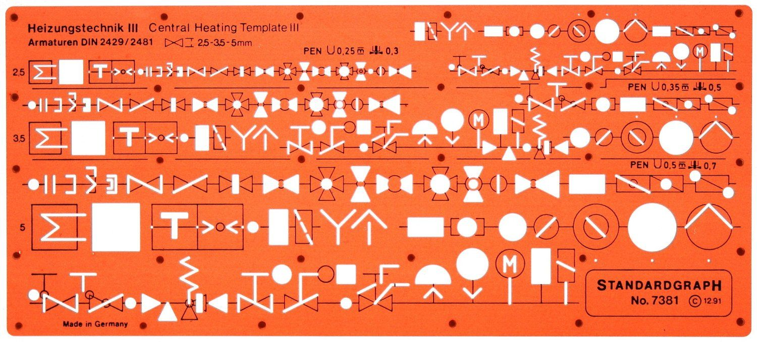 Amazoncom Metric Heating Mechanical Building Services Hvac Drawing Images Installation Symbols Template Stencil Technical Templates Office Products
