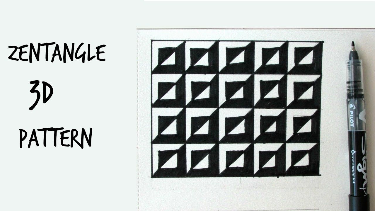 How To Draw 3d Zentangle Pattern 1 Step By Step Tutorial Zentangle Patterns Zentangle Doodle Patterns