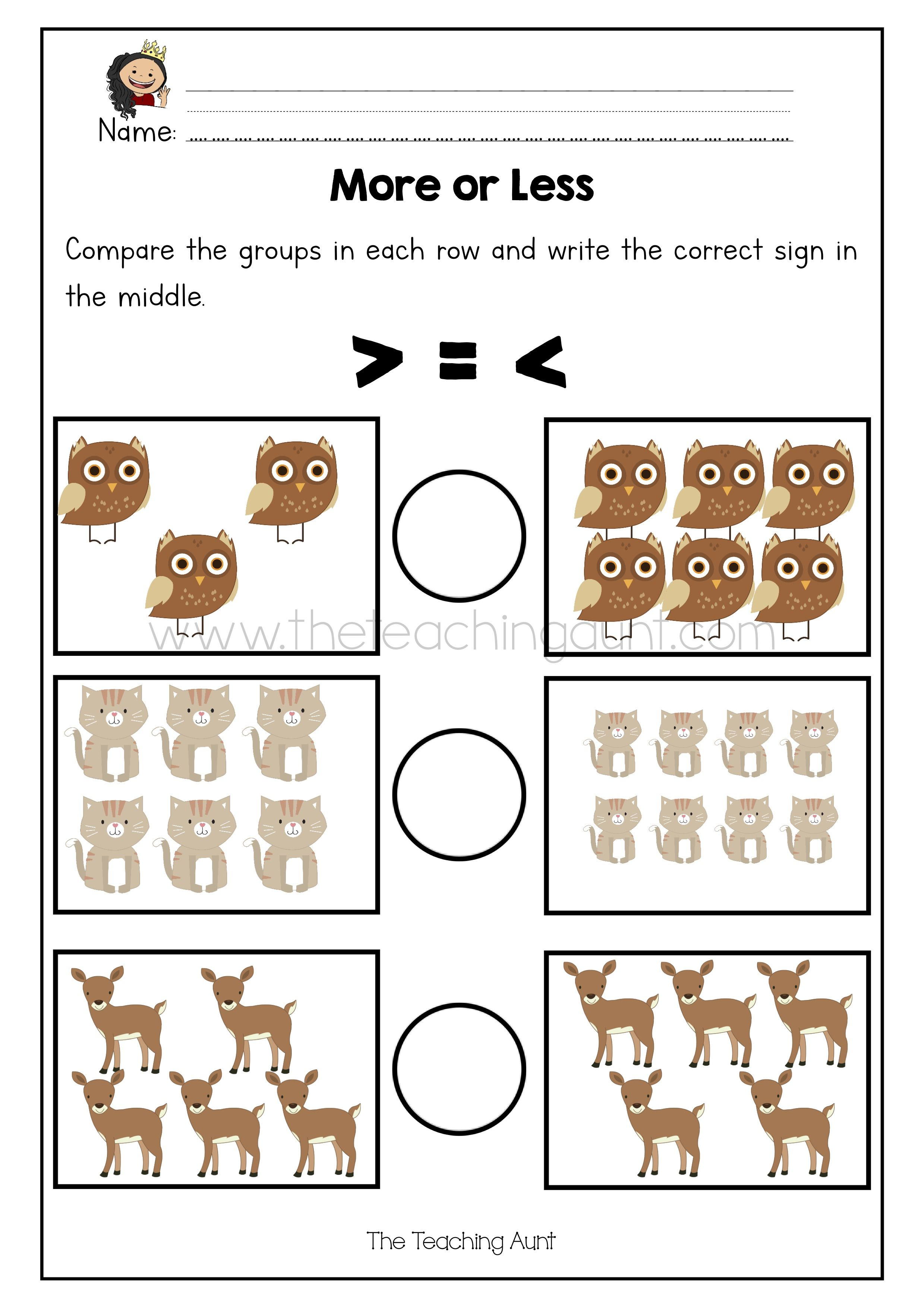 More Or Less Worksheets Free Printable