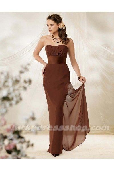 Brown Chiffon Bridesmaid Dresses   Brown Sheath/Column Strapless Long/Floor-length Chiffon Bridesmaid ...