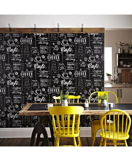 Coffee Shop Black And White Wallpaper In 2019 Cafe Decor