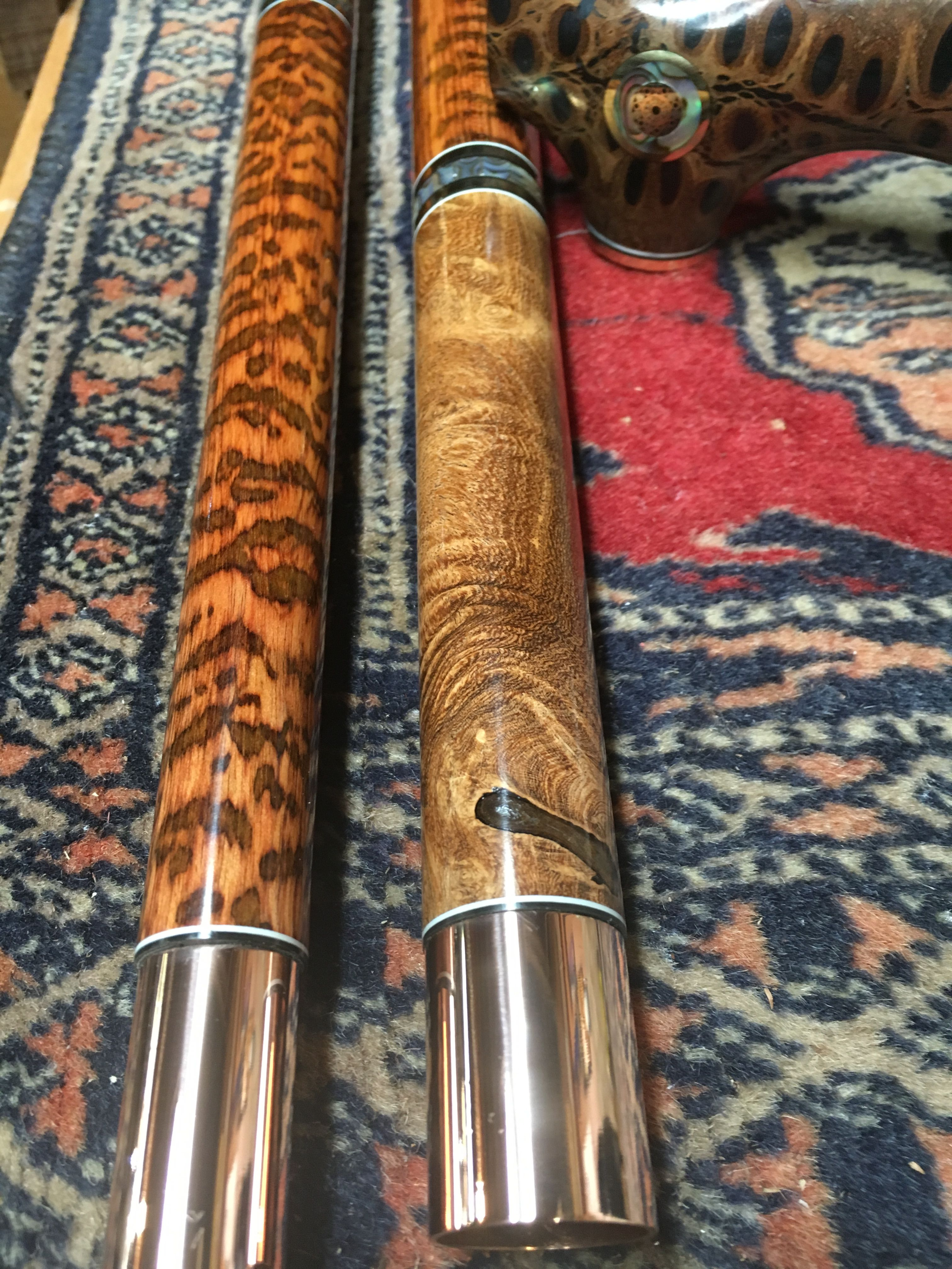 Banksia pod cane handle with snakewood and mesquite burl.
