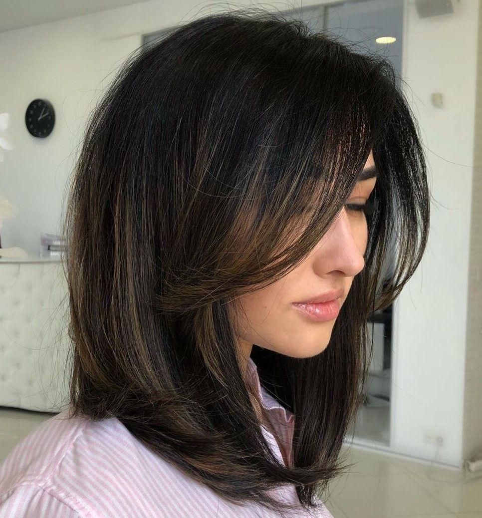 31++ Medium length haircuts with side bangs inspirations