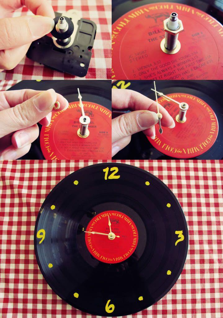 Diy Record Clock Vinyl Record Clock Record Crafts