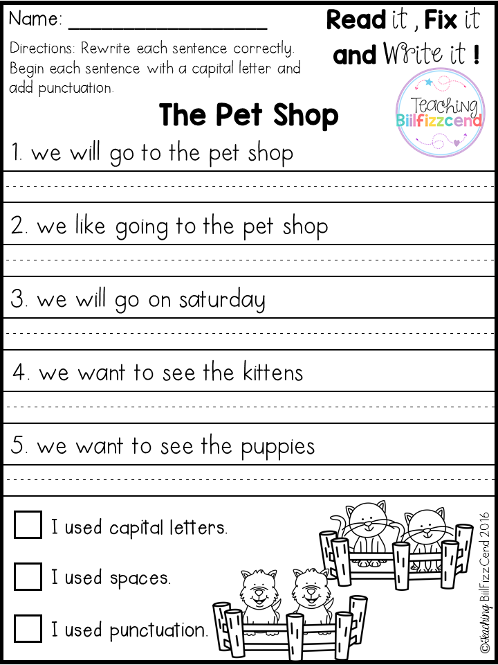 free fix it up sentences second grade teaching writing 1st grade writing kindergarten writing. Black Bedroom Furniture Sets. Home Design Ideas