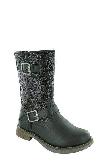Free shipping and returns on Jumping Jacks 'Glitter' Boot (Walker, Toddler & Little Kid) at Nordstrom.com. The ever-cool moto boot gets dolled up in shimmery glitter. With a flexible sole and water-resistant finish, this double-buckle silhouette will take her through the seasons in easy style.