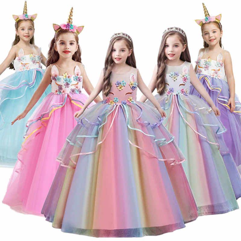 Vestido De Chicas De Unicornio Con Diseno De Arcoiris Elegante Para Fiestas De Ninos Tutu Largo Vestidos De Princesa Chica Adolescente 10 12 14 Anos Alie En 2020 Tutu