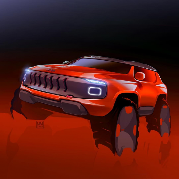 a #doodle of a possible #jeeprenegade ???? #cardesignnews #cars #cardesign #sketch #doodlecar #jeep #concept #digitalart #test #offroad #conceptcars #concept #cars #and #trucks