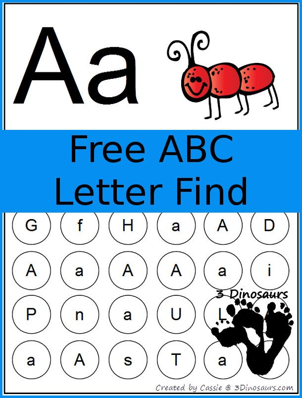 FREE ABC Letter Find Printable - 3Dinosaurs.com | Classroom ...