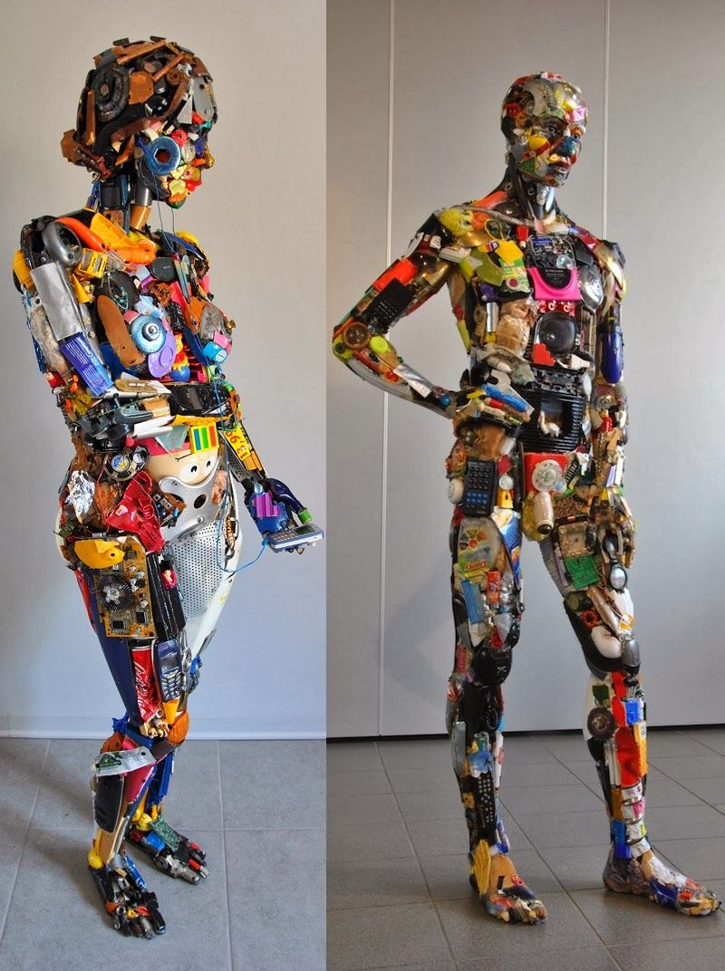 Artist: Dario Tironi Italian artist Dario Tironi glue together various discarded objects and create detailed sculptures. Che... #recycledart