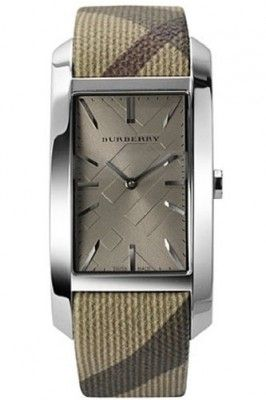 802dd470537 Relógio Burberry BU9404 Women s Heritage Beige Leather Strap Cappuccino  Dial Rectangular Watch  Relogio  Burberry