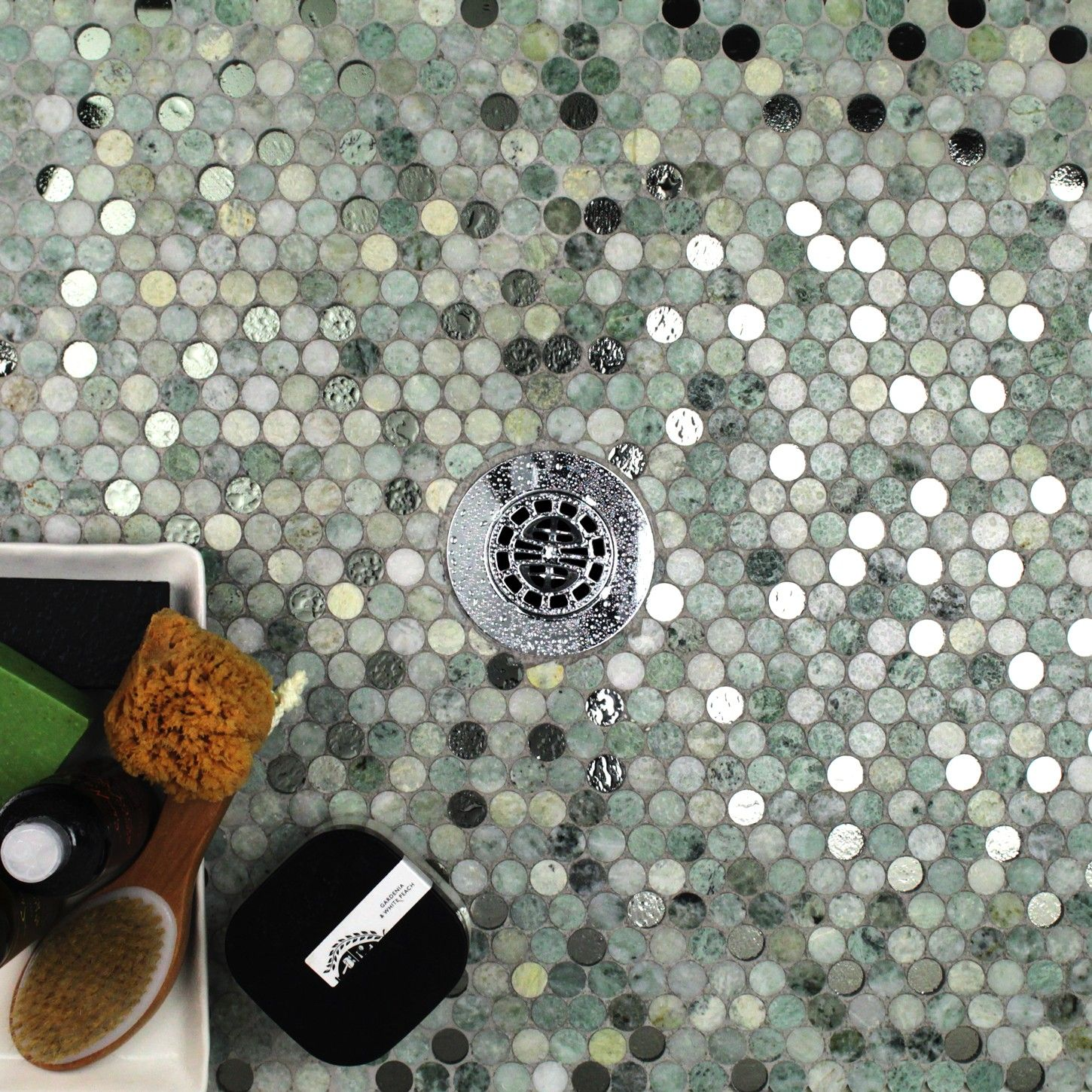Reflection Ming Green With Mirror Penny Round Marble Glass Tile Marble Glass Tile Glass Tile Tile Bathroom