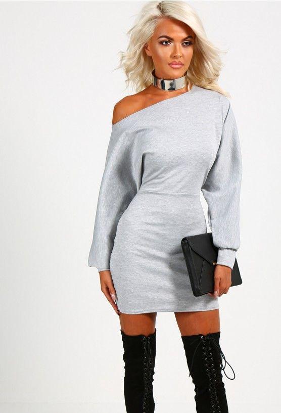 f914021c6e6a6 Sofia Grey Off the Shoulder Jersey Mini Dress   shavonia   Dresses ...