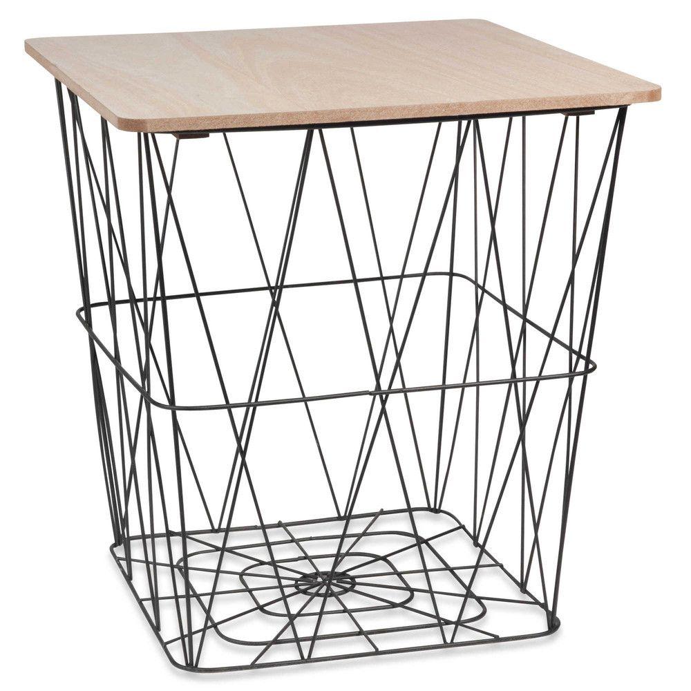 Beistelltisch aus Draht Holzimitation und Metall schwarz | Wire side ...